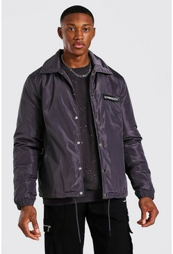 Charcoal grey Man Official Nylon Coach Jas Met Faux Fur Voering