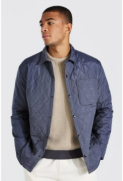 Charcoal grey Quilted Coach Padded Overshirt