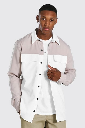 Taupe beige Smart Colour Block Utility Overshirt