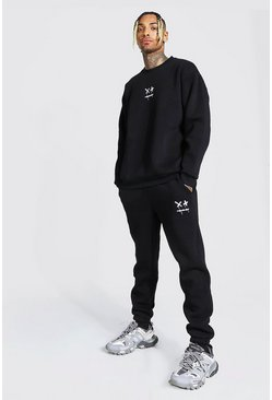 Oversized Drip Face Embroidered Sweater Tracksuit, Black noir