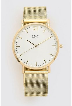 Gold metallic MAN Dash White Face Classic Watch