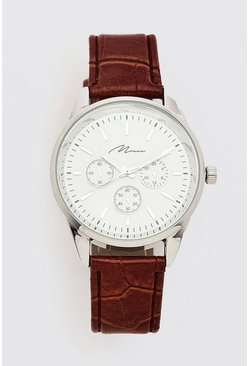 Brown Man Script Watch With Faux Croc Strap