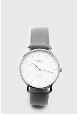 White Face Classic Watch With Contrast Strap