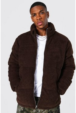 Chocolate brown Borg Funnel Neck Puffer