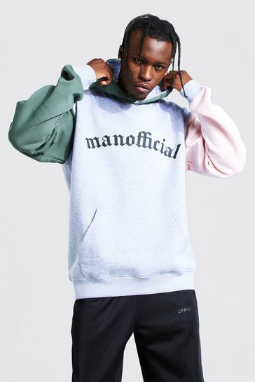 Grey marl grey MAN Official Colour Block Sleeve Panel Hoodie