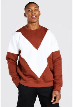 Sweatshirt im Colorblock-Design, Naturfarben weiß
