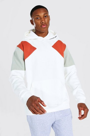 Ecru white Official MAN Sleeve Colour Block Hoodie