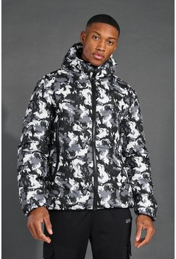 MAN Active Camo Printed Puffer Jacket, Black Чёрный