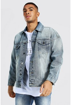 Boxy Fit Denim Jacket, Antique blue
