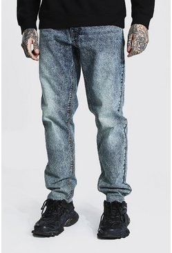 Antique blue Straight Leg Jean With Distressed Hem