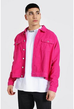 Bright pink pink Boxy Fit Cord Jacket