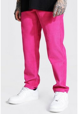 Bright pink pink Relaxed Fit Cord Trouser
