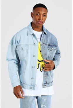 Oversized Spliced Denim Jacket, Ice blue