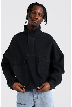 Oversized OTH Funnel Neck Denim Jacket, Washed black