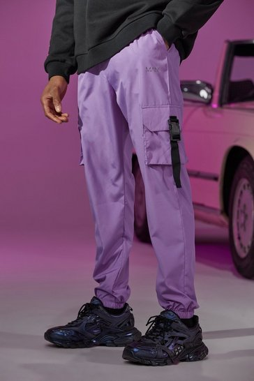 Lilac purple Shell Buckle Cargo Joggers