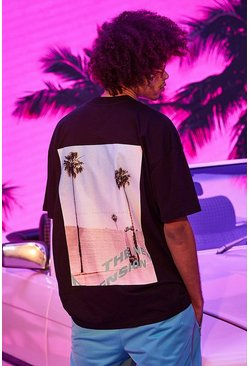 Black Oversized Palm Front And Back Print T-shirt