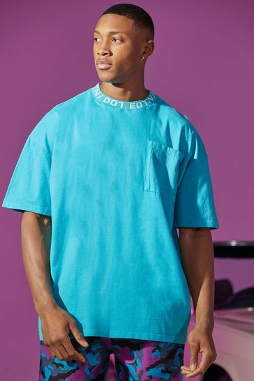Blue Oversized Overdyed Extended Neck T-shirt