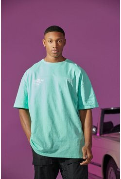 Green Oversized Overdyed Print T-shirt