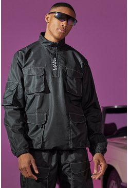 Black Utility Cagoule With Exposed Stitching