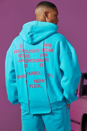 Blue Oversized Spliced Exposed Seam Back Print Hoodie