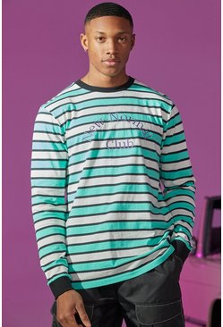 Green Stripe Long Sleeve T-shirt With Embroidery
