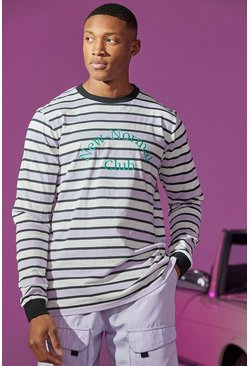 Lilac purple Stripe Long Sleeve T-shirt With Embroidery