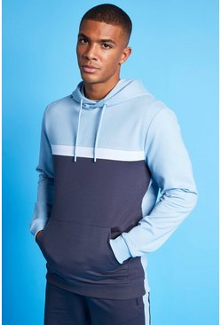 MAN Active Colour Blocked Over the Head Hoodie, Pale blue bleu