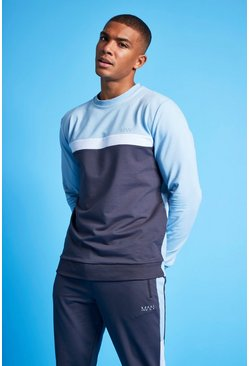 Pale blue blue MAN Active Colour Blocked Sweatshirt