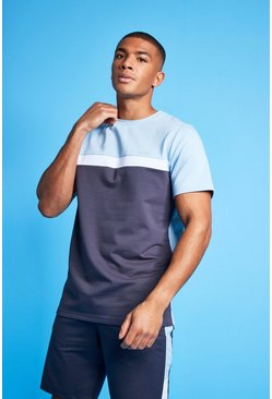 Pale blue blue MAN Active Colour Block T Shirt