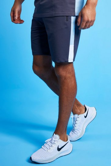 Pale blue blue MAN Active Colour Block Striped Short