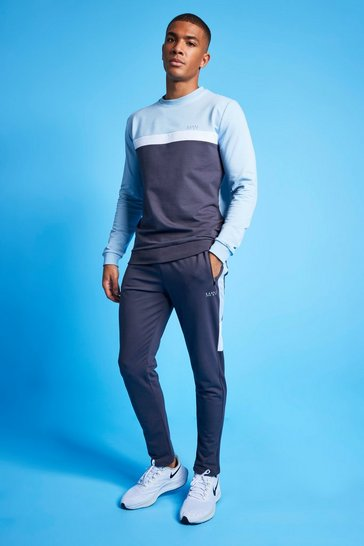 Pale blue blue MAN Active Colour Blocked Sweatshirt Tracksuit