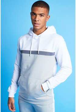 MAN Active Colour Blocked Over the Head Hoodie, White blanc