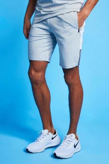 White MAN Active Colour Block Striped Short