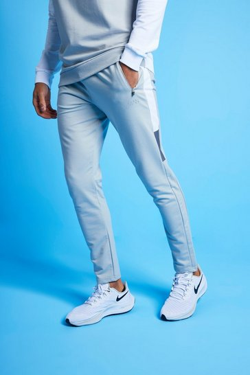 White MAN Active Colour Block Striped Jogger
