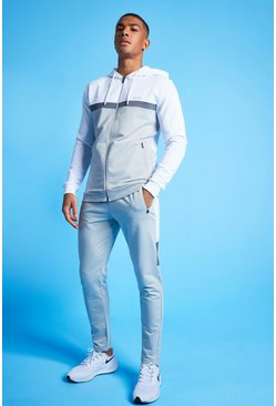 White MAN Active Colour Blocked Hooded ZipTracksuit