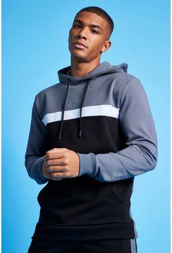 Charcoal grey MAN Active Colour Blocked Over the Head Hoodie