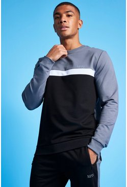 Charcoal grey MAN Active Colour Blocked Sweatshirt