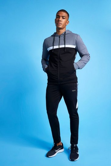 Charcoal grey MAN Active Colour Blocked Hooded Zip Tracksuit