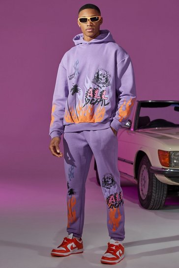 Purple Oversized Flame Print Hooded Tracksuit With Tab