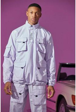 Lilac purple Utility Cagoule With Exposed Stitching