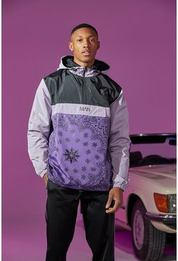 Purple Colour Block Bandana Print Cagoule