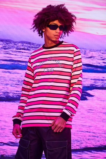Pink Stripe Long Sleeve T-shirt With Embroidery