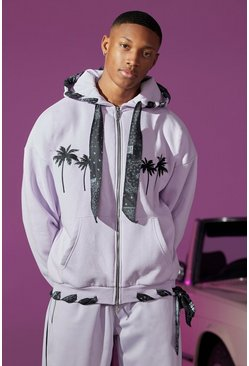 Oversized Zip Through Hoodie With Bandana Lining, Lilac Фиолетовый