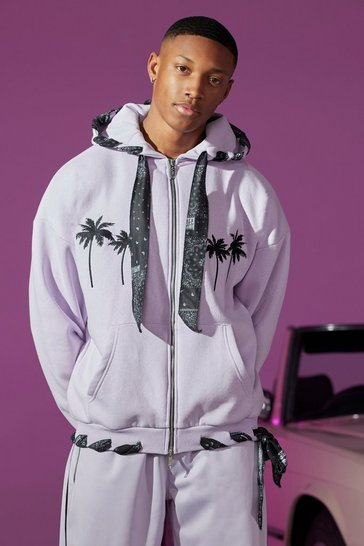 Lilac purple Oversized Zip Through Hoodie With Bandana Lining