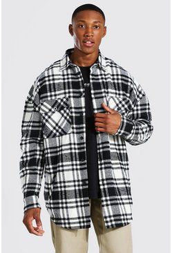 Black Oversized Heavy Weight Check Overshirt