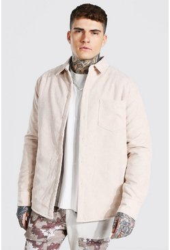 Stone beige Cord Quilted Overshirt