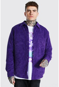 Purple Cord Quilted Overshirt