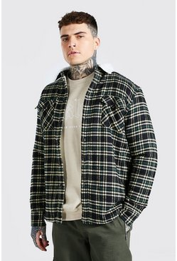 Teal green Quilted Check Overshirt With Borg Lining