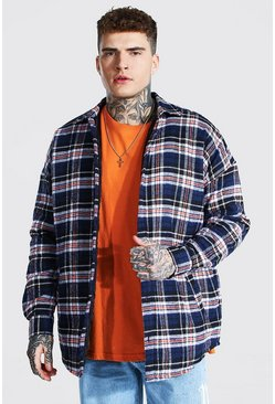 Navy Oversized Quilted Check Overshirt