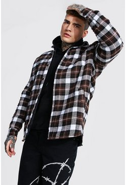Choc brown Oversized Quilted Check Overshirt